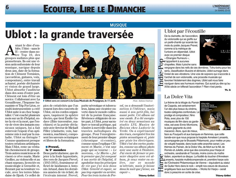 Ublot : la grande traversée (article de Thierry Grillet, paru dans le journal L'Indépendant le 24 mars 2019)